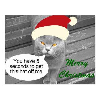 Angry Santa Cat Postcard