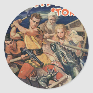 Angry Sea Dragon Classic Round Sticker