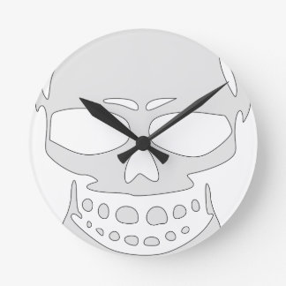 Angry Skull Face Round Clock