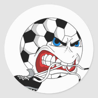 Angry Soccer Ball Classic Round Sticker