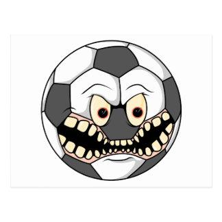 angry soccer ball postcard