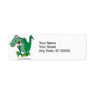 angry t-rex dino tantrum return address label
