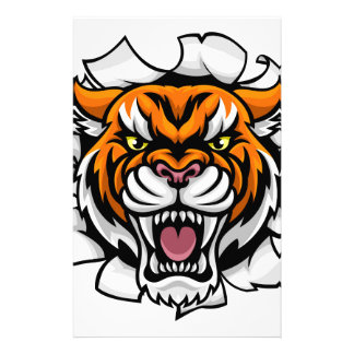 Angry Tiger Background Breakthrough Stationery