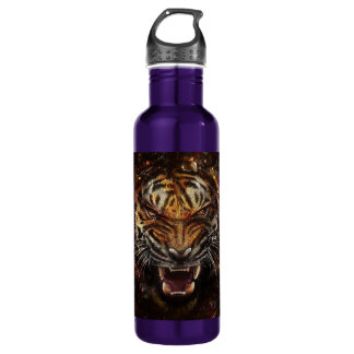 Angry Tiger Breaking Glass Yelow 710 Ml Water Bottle