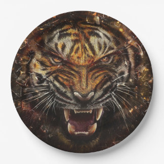 Angry Tiger Breaking Glass Yelow 9 Inch Paper Plate