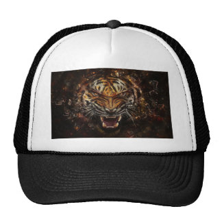 Angry Tiger Breaking Glass Yelow Cap