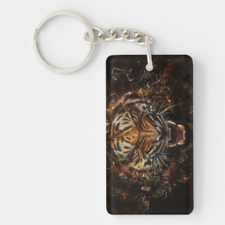 Angry Tiger Breaking Glass Yelow Double-Sided Rectangular Acrylic Key Ring