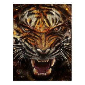 Angry Tiger Breaking Glass Yelow Postcard