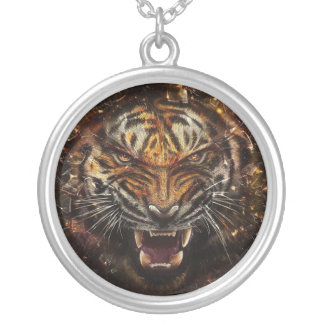 Angry Tiger Breaking Glass Yelow Silver Plated Necklace