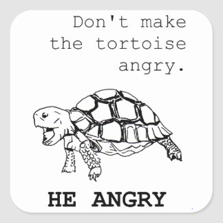 Angry Tortoise Square Sticker