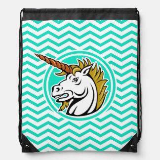 Angry Unicorn; Aqua Green Chevron Drawstring Bag