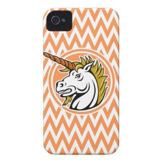 Angry Unicorn Orange and White Chevron Stripes iPhone 4 Covers