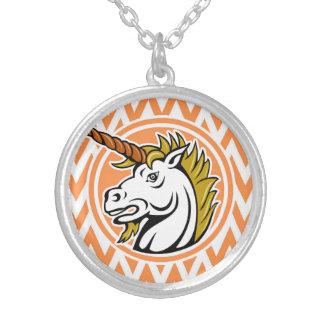 Angry Unicorn Orange and White Chevron Stripes Personalized Necklace