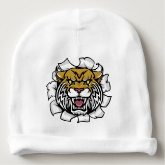 Angry Wildcat Background Breakthrough Baby Beanie