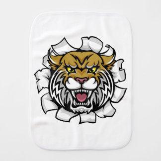 Angry Wildcat Background Breakthrough Burp Cloth