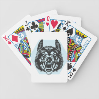 Angry wolf bicycle playing cards