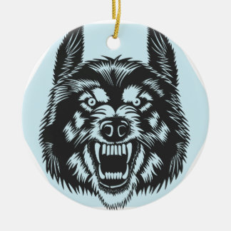Angry wolf ceramic ornament