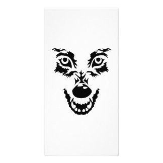 Angry wolf face photo card template
