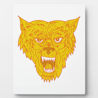 Angry Wolf Head Mono Line Plaque