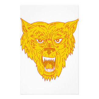 Angry Wolf Head Mono Line Stationery