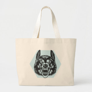 Angry wolf large tote bag