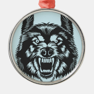 Angry wolf metal ornament