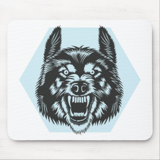 Angry wolf mouse pad