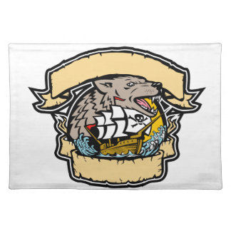 Angry Wolf Pirate Ship Banner Retro Placemat