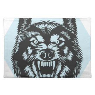Angry wolf placemat