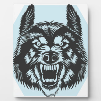 Angry wolf plaque