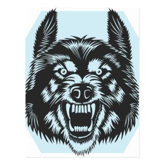 Angry wolf postcard