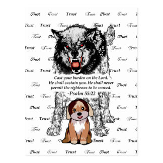 Angry Wolf Puppy - Trust - #4 FaithTrust Black.png Postcard