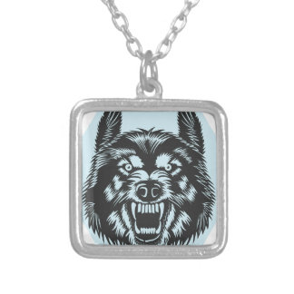 Angry wolf silver plated necklace
