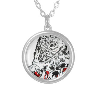 Angry Wolf Sketch2 Silver Plated Necklace