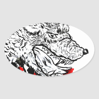 Angry Wolf Sketch Oval Sticker