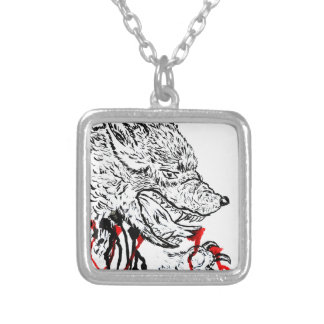 Angry Wolf Sketch Silver Plated Necklace