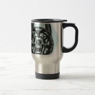 Angry wolf travel mug