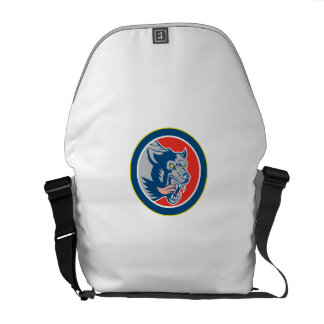 Angry Wolf Wild Dog Head Circle Retro Commuter Bags