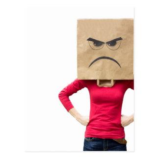 Angry woman postcard