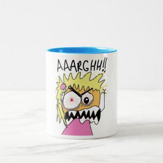 angry woman Two-Tone coffee mug