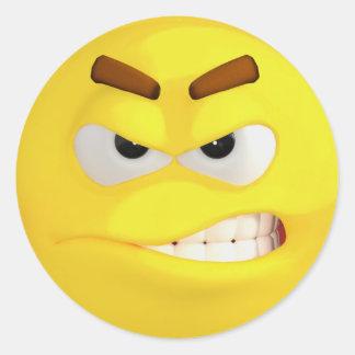 Angry Yellow Emoji Classic Round Sticker
