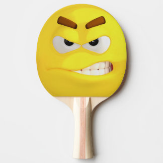 Angry Yellow Emoji Ping Pong Paddle