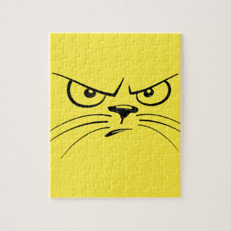 Angry Yellow Kitty Face Jigsaw Puzzle