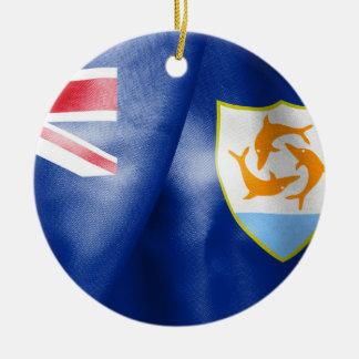 Anguilla Flag Round Ceramic Prnament Ceramic Ornament