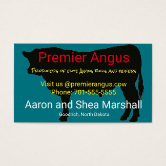 Angus bull silhouette business card