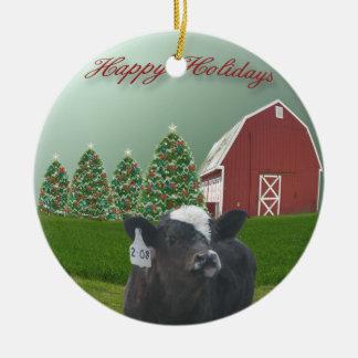 Angus Calf Holiday Ceramic Ornament