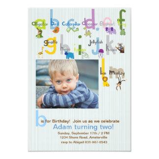 Animal ABC's Photo Birthday Party Invitation