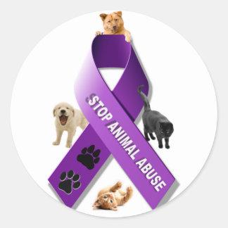 Animal Abuse Awareness Ribbon Classic Round Sticker