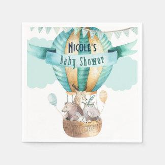 Animal Adventure Watercolor Boho Baby Shower Disposable Serviette