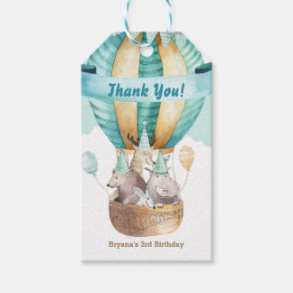 Animal Adventure Watercolor Boho Birthday Party Gift Tags